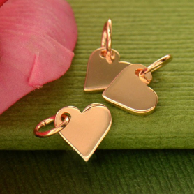 Rose Gold Charm - Small Heart with 18K Rose Gold Plate 10x7m