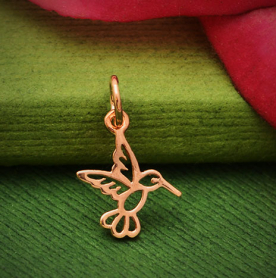 18K Rose Gold Plated Hummingbird Charm 16x10mm
