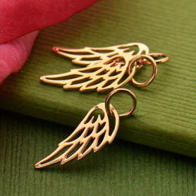 Rose Gold Charm - Tiny Wing with 18K Rose Gold Plate 18x6mm
