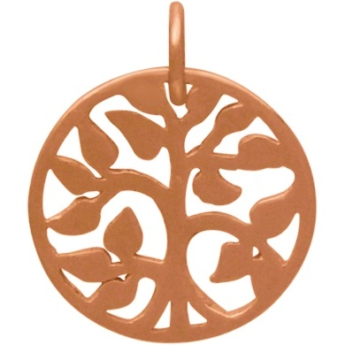 18K Rose Gold Plated Tree of Life Charm 17x13mm
