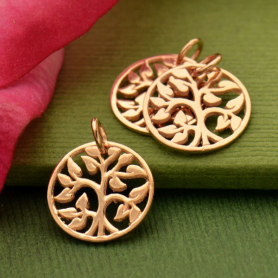 Rose Gold Charm - Tiny Tree of Life with 18K Rose Gold Plate