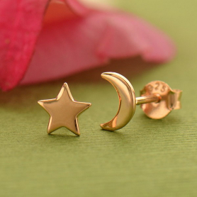 18K Rose Gold Plated Moon and Star Post Earrings 7x5mm