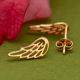Rose Gold Openwork Wing Post Earring in 18K Rose Gold Plate