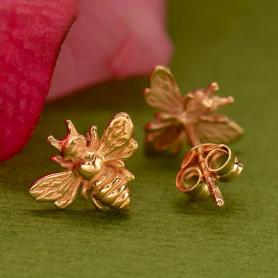Rose Gold Bumble Bee Post Earring in 18K Rose Gold Plate