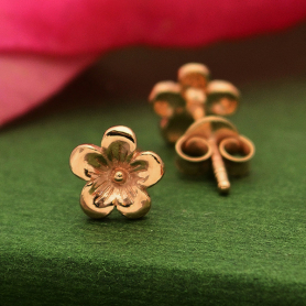 18K Rose Gold Plated Cherry Blossom Post Earrings 6x6mm