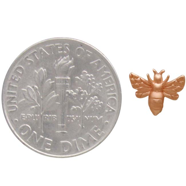Rose Gold Plated Tiny Bee Post Earrings 6x8mm