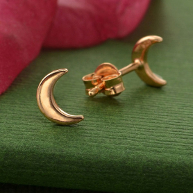 Rose Gold Earrings - Moon Post Earrings with Rose Gold Plate