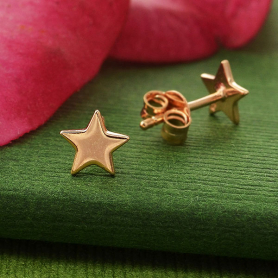 Rose Gold Earrings - Star Post Earrings with Rose Gold Plate