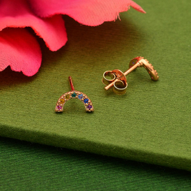 Rose Gold Plated Rainbow Post Earrings with Nano Gems 4x8mm