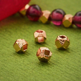 Faceted Spacer Beads with 18K Rose Gold Plate -2.5mm