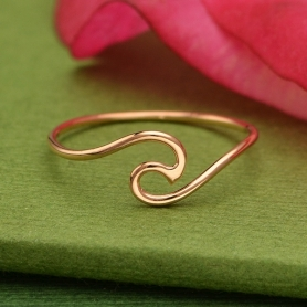 Rose Gold Ring - Wave Ring in 18K Rose Gold Plate