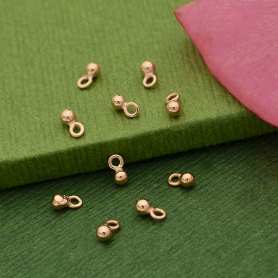 18K Rose Gold Plated Tiny Round Dangle Charm 4x2mm