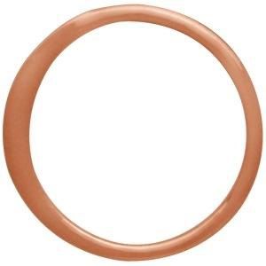 18K Rose Gold Plated Half Hammered Circle Link 12mm