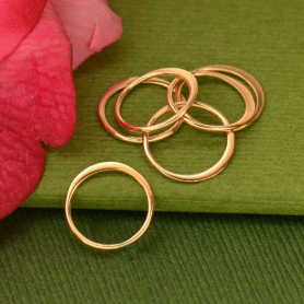Rose Gold Plated Half Hammered Circle Jewelry Link -12mm