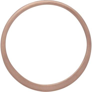 18K Rose Gold Plate Half Hammered Circle Link 15mm