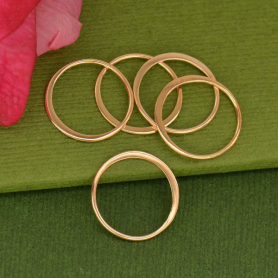 Rose Gold Plate Half Hammered Circle Jewelry Link -15mm