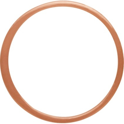 18K Rose Gold Plated Half Hammered Circle Link 18mm