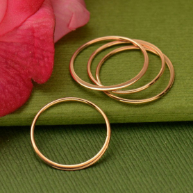 Rose Gold Plated Half Hammered Circle Jewelry Link -18mm