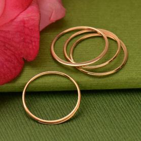 18K Rose Gold Plated Half Hammered Circle Link 18mm