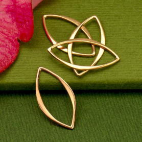 18K Rose Gold Plated Small Marquis Link 20x10mm