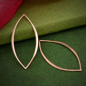 18K Rose Gold Plated Marquis Link 32x15mm