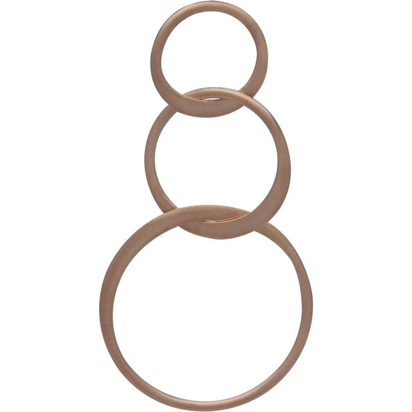 18K Rose Gold Plate Three Circles of Life Link 19x36mm