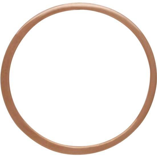 18K Rose Gold Plated Half Hammered Circle Link 25mm