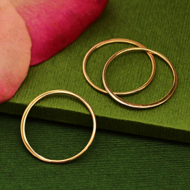 Rose Gold Plate Half Hammered Circle Jewelry Link -25mm