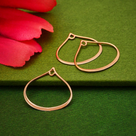 Rose Gold Plated Wide Bottom Teardrop Link with Loop 20x19mm