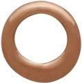 18K Rose Gold Plated Half Hammered Circle Link 6mm