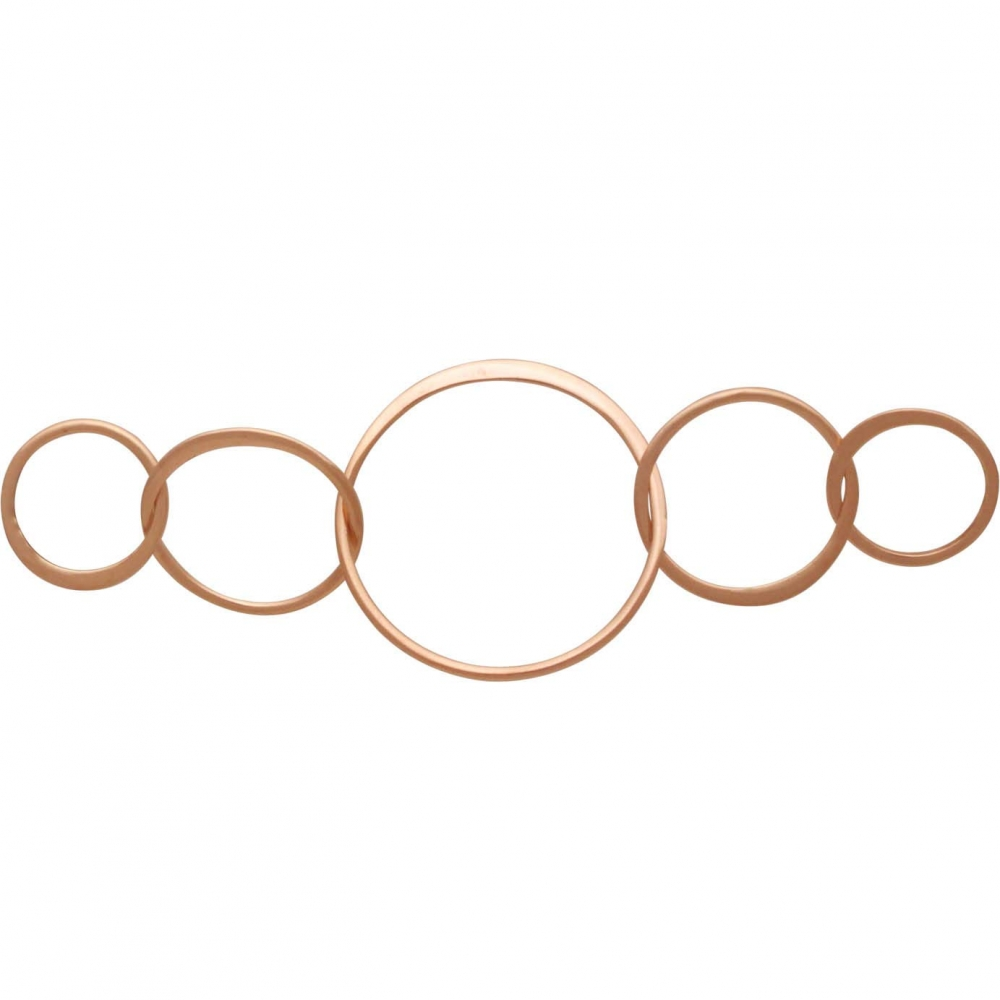 18K Rose Gold Plate Five Circles of Life Link 18x55mm