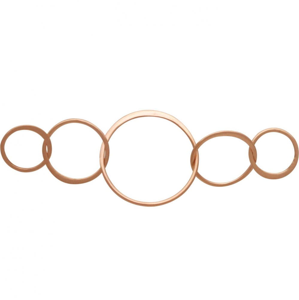 18K Rose Gold Plate Five Circles of Life Link -57mm
