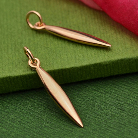 Rose Gold Charm - Pod Charm with 18K Rose Gold Plate -26mm