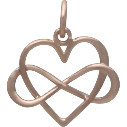 18K Rose Gold Plated Infinity Heart Charm 18x16mm