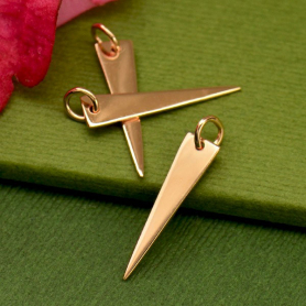 18K Rose Gold Plated Long Triangle Charm 24x5mm
