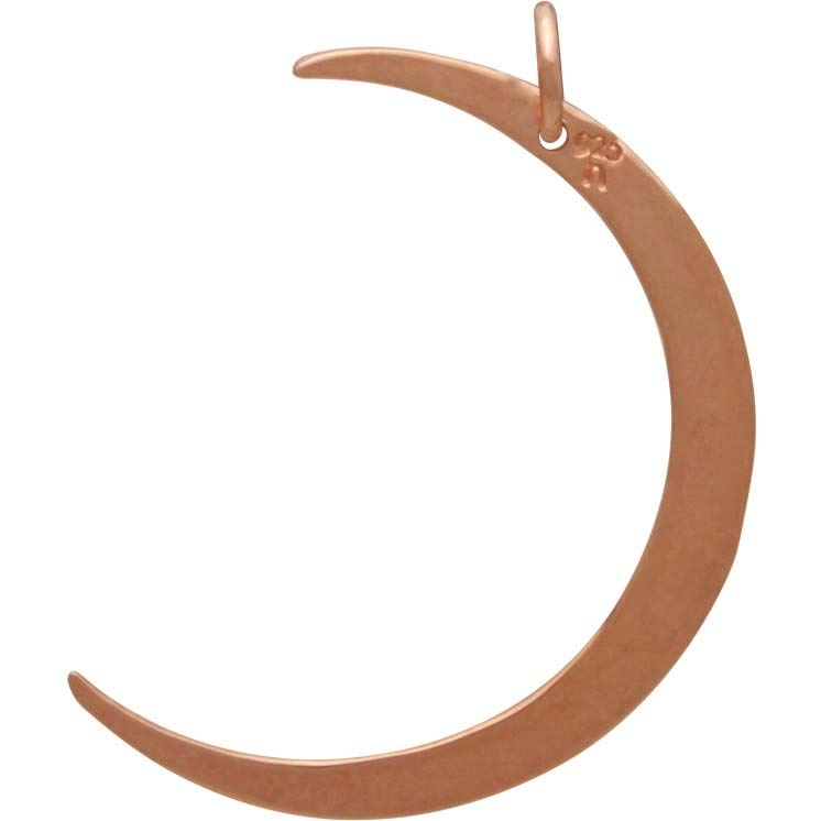 18K Rose Gold Plated Hammered Crescent Moon Charm 33x22mm