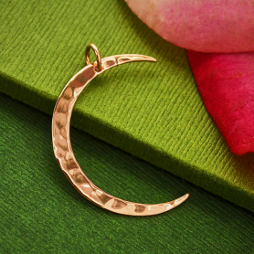 18K Rose Gold Plated Hammered Crescent Moon Charm