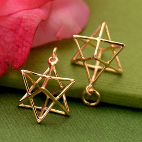 Rose Gold Pendant - 3D Wire Merkaba in 24K Gold Plate