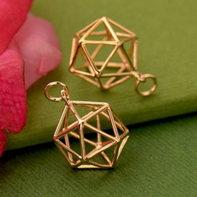 18K Rose Gold Plated 3D Wire Icosahedron Pendant 21x15mm