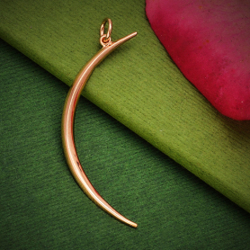 18K Rose Gold Plated Skinny Ridged Moon Pendant