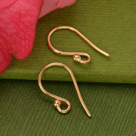 Rose Gold Ear Hook - Simple with Ball in 18K Rose Gold Plate