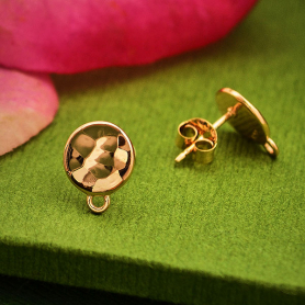 18K Rose Gold Plated Hammered Circle Post Earrings with Loop
