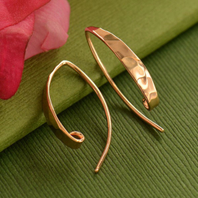 Rose Gold Ear Wire - Lg Long Hammered in 18K Rose Gold Plate