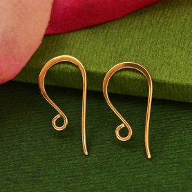 18K Rose Gold Plated Simple Flat Ear Wires 20x10mm