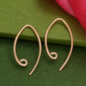 Rose Gold Ear Wire - Small Marquis with Loop in 18K Plate