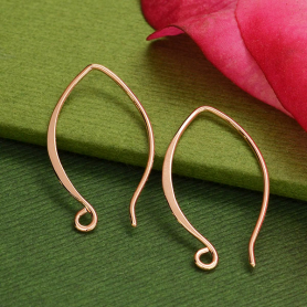 18K Rose Gold Plated Marquis Shaped Ear Wire 25x15mm