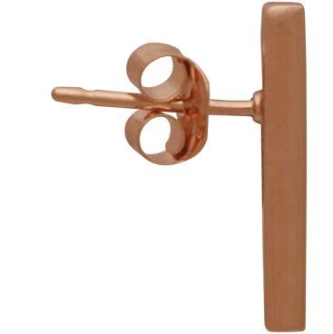 18K Rose Gold Plated Bar Post Earrings 15x2mm