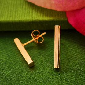18K Rose Gold Plated Bar Post Earrings