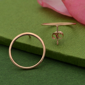 Stud Earrings - Open Circle in Rose Gold Plate 18x18mm