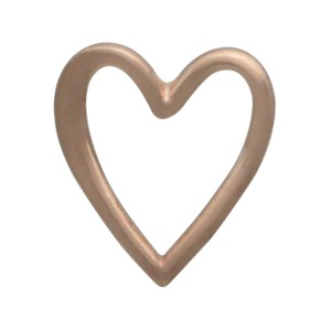 Rose Gold Heart Post Earrings in 18K Rose Gold Plate 9x8mm